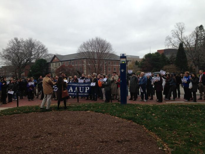 Members of the University of Connecticut graduate union, graduate senate, faculty, and graduate programs gathered outside of Wilbur Cross on Wed., Nov. 18 for academic freedom as defined by the American Association of University Professors (AAUP).(Courtesy/ GEU-UAW UConn Graduate Employee Union Facebook page)