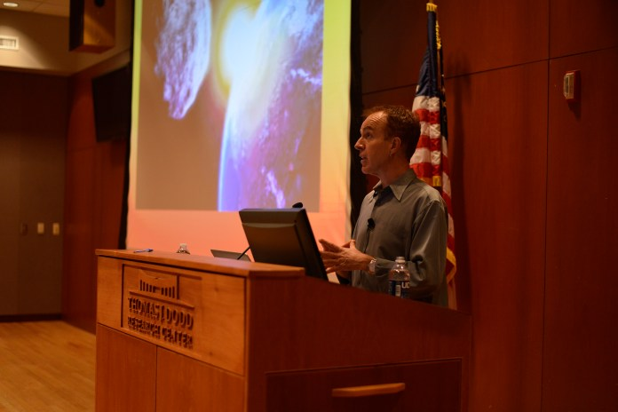 Dr. Robert Nixon, a professor at the Princeton Environmental Institute, is seen during his lecture at the Thomas J. Dodd Research Center in Storrs, Connecticut on Thursday, Nov. 19, 2015. (Jason Jiang/The Daily Campus)