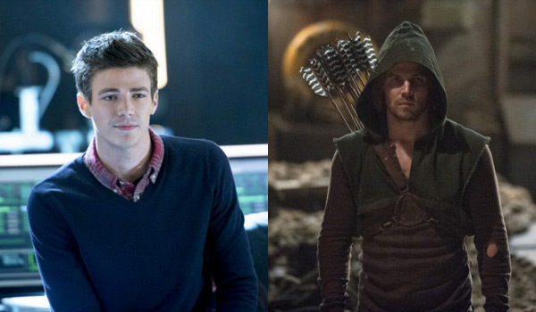 Grant Gustin (left) plays Barry Allen, a.k.a. The Flash on  The Flash and Stephen Amell (right) portrays the Oliver Green, the Green Arrow, on  Arrow .