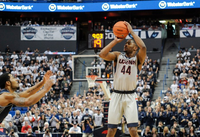 UConn guard Rodney Purvis takes a shot during the Huskies' game against Georgetown at the XL Center in Hartford, Connecticut on Saturday,Jan. 23, 2016. Purvis finished with a team-high 17 points in the 68-62 victory. (Bailey Wright/The Daily Campus)