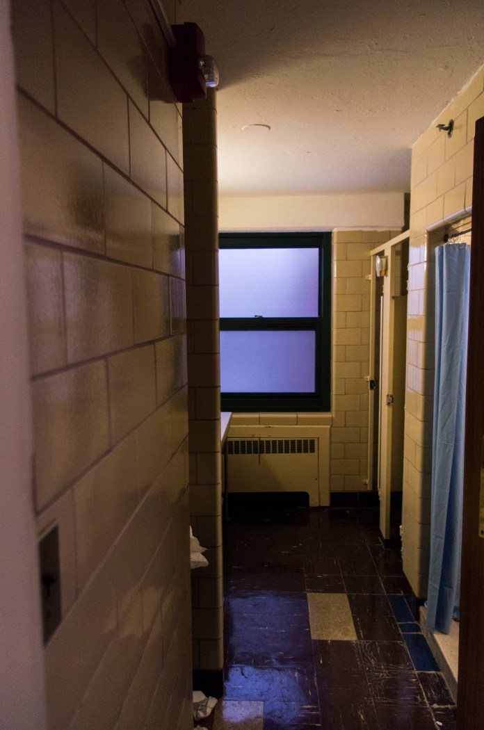 West Campus Residence Hall bathrooms on Jan. 23, 2016,prior to their expected renovations which will begin in May 2016. (William Chan/The Daily Campus)