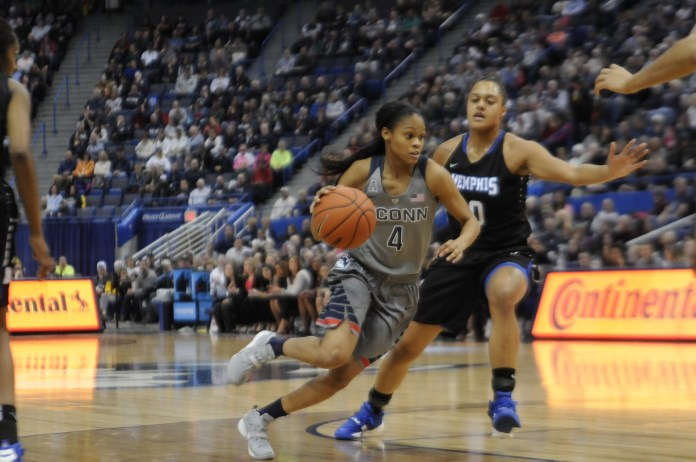 Moriah Jefferson attacking the rim against Memphis at the XL Center on Jan. 30, 2016. Jefferson had 7 assists during UConn's 83-40 win. She tied Bria Hartley on UConn's career assist list at 559. (Bailey Wright/The Daily Campus).