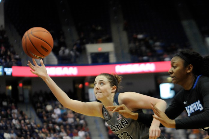Katie Lou Samuelson attacks the basket during UConn's 83-40 win over Memphis on Saturday Jan. 30, 2016. The Huskies are set to face Tulane. (Bailey Wright/The Daily Campus)