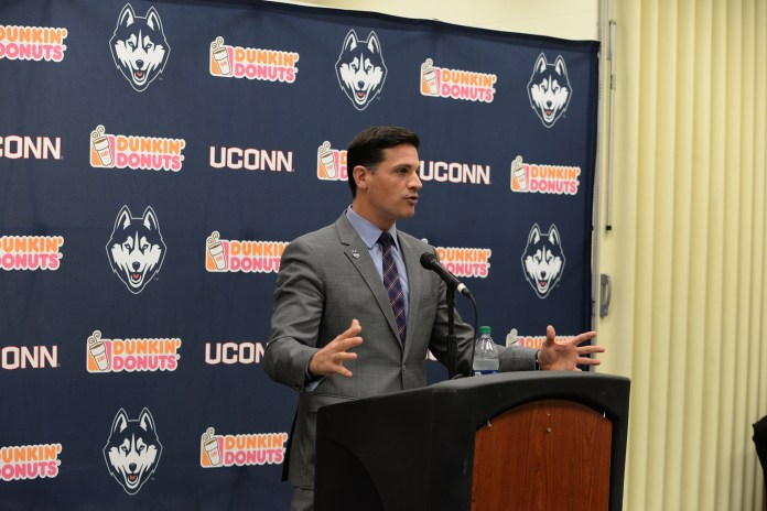 UConn head coach Bob Diaco addresses the media at Pratt &Whitney Stadium at Rentschler Field on National Signing Day. (Amar Batra/The Daily Campus)
