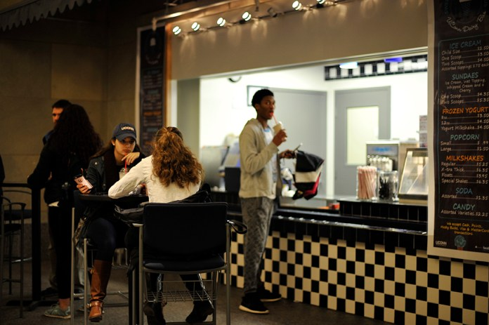 The Blue Cow, Student Union ice cream hot spot, is missing its big blue logo. It will undergo renovations and get a new logo once the design is approved. (Jason Jiang/Daily Campus)