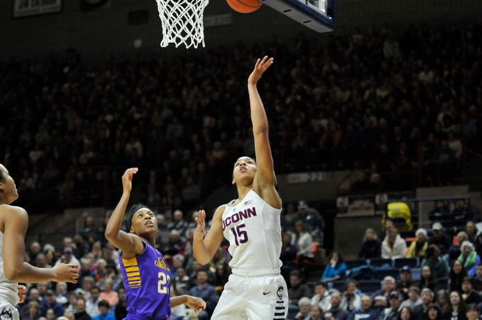 Soniya Chong goes up for a layup during UConn's victory over East Carolina at Gampel Pavilion on Saturday February 6, 2016. (Bailey Wright/The Daily Campus)