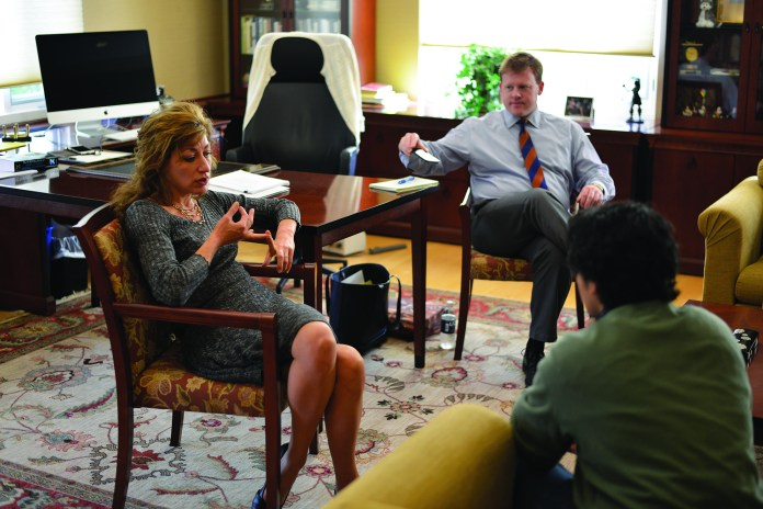 President Susan Herbst holds office hours to answer students' questions on Oct.21, 2015 (Jason Jiang/The Daily Campus)
