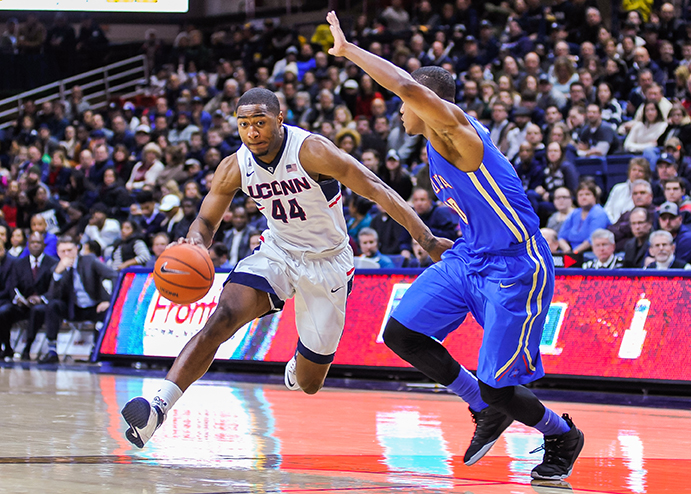 Rodney Purvis attacks the basket against Tulsa. (Jason Jiang/The Daily Campus)