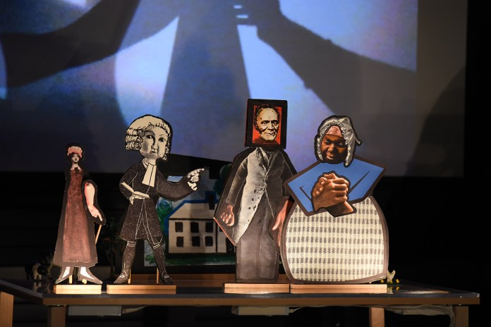 """Puppets are seen on stage during Puppetsweat Theater's performance of """"The Autobiography of James Mars: A Slave Born and Sold in Connecticut"""" at the Ballard Institute and Museum of Puppetry on Saturday, Feb. 13, 2016. (Allen Lang/The Daily Campus)"""