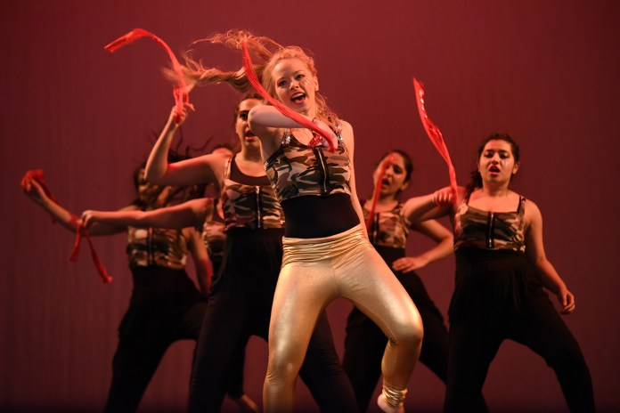 """Performers are seen dancing during """"Dancers for Difference,"""" a charity dance event hosted by UConn Surya, at the Jorgensen Center for the Performing Arts in Storrs, Connecticut on Saturday, Feb. 13, 2016. The unique philanthropic competition drew performers from across the country. (Allen Lang/The Daily Campus)"""