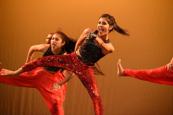 """Performers are seen dancing during """"Dancers for Difference,"""" a charity dance event hosted by UConn Surya, at the Jorgensen Center for the Performing Arts in Storrs, Connecticut on Saturday, Feb. 13, 2016. (Allen Lang/The Daily Campus)"""