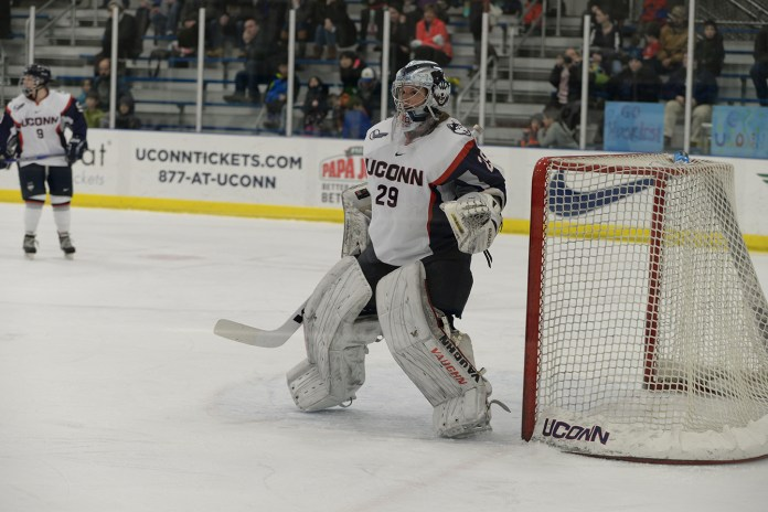 Elaine Chuli broke the all-time Hockey East saves record on Saturday in UConn's victory over Maine at the Freitas Ice Forum. (Amar Batra/The Daily Campus)