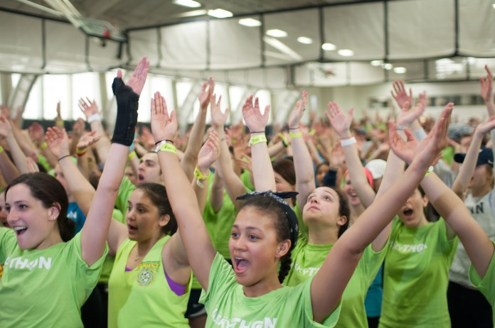 Students dance the morale dance at last year's HuskyTHON. (File photo/Daily Campus)