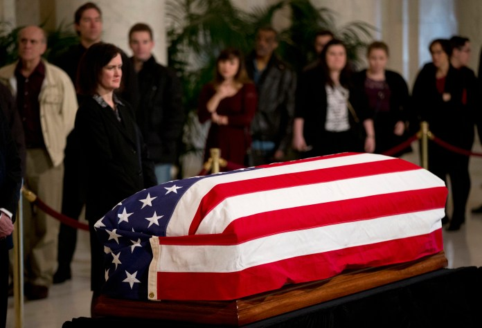 In this Feb. 19, 2016, file photo, people line up to pay their respects to the late Justice Antonin Scalia in the Great Hall of the Supreme Court in Washington, Friday, Feb. 19, 2016, where Scalia's body lies in repose.Scalia'svoluminous public information file is remarkably short on any details related to his health, just a report of minor shoulder surgery in 2003. (AP)