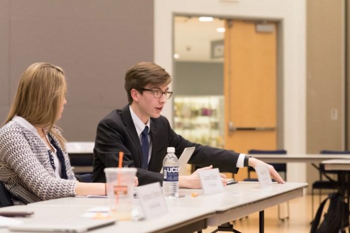 Daniel Byrd speaks at USG on Wed., March 2, 2016. The organization decided to postpone Sen. Tim Sullivan's impeachment trial. (Tyler Benton/Daily Campus)