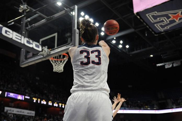 Katie Lou Samuelson inbounds the ball during UConn's 92-51 win over East Carolina in the quarterfinals of the American Athletic Conference tournament. Samuelson, a freshman, scored 16 points in her postseason debut. (Bailey Wright/The Daily Campius)