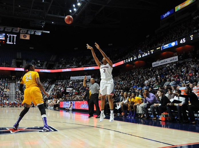 Morgan Tuck goes up for a jump shot during UConn's 92-51 victory over East Carolina during the quarterfinals of the American Athletic Conference tournament at Mohegan Sun on Saturday March 5, 2016. Tuck had 16 points, tied for the team lead. (Bailey Wright/The Daily Campus)