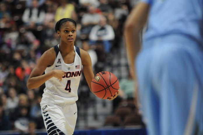 Moriah Jefferson takes the ball up the court during UConn's 82-35 victory over Tulane in the American Athletic Conference semifinals at Mohegan Sun on Sunday March 6, 2016. Jefferson finished with two points, five assists and four rebounds. (Bailey Wright/The Daily Campus)