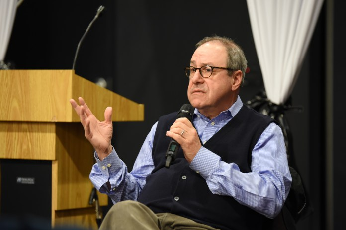 """Joe Nocera,an Op-Ed columnist, writes about a myriad of issues, notably the NCAA, for  The New York Times . He discussed the issues with the organization that he has unearthed from his book, """"Indentured: The Inside Story of the Rebellion Against the NCAA."""" (Zhelun Lang/Daily Campus)"""