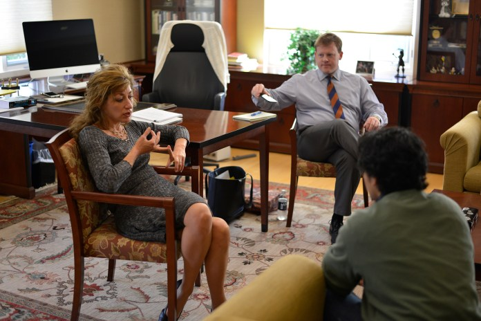 UConn president Susan Herbst in her office during her office hours on Wednesday, Oct. 21, 2015.(Jason Jiang/The Daily Campus)