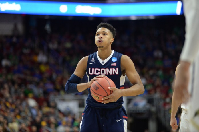 Jalen Adams holds the ball during UConn's victory over Colorado in the opening round of the NCAA tournament in Des Moines, Iowa on Thursday March 17, 2016. Adams had 9 points. (Ashley Maher/The Daily Campus)