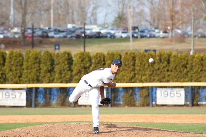 Sam Nepiarsky delivers a pitch during UConn's 8-4 loss to instate rival Central Connecticut at J.O. Christian Field on Wednesday March 23, 2016. He threw 2.1 IP. (Tyler Benton/The Daily Campus)