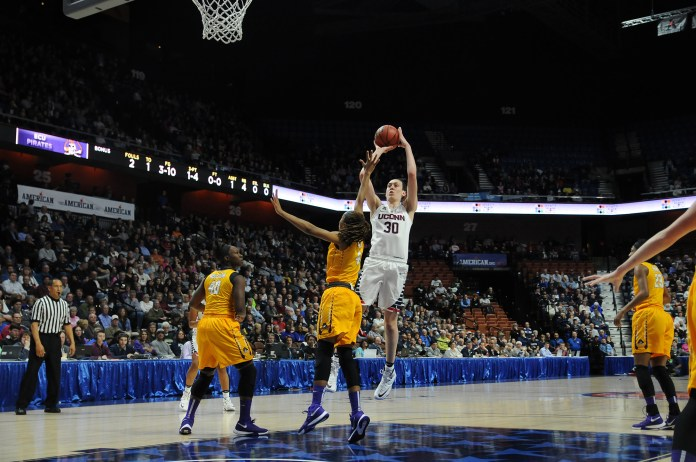 UConn senior forward Breanna Stewart takes a shot during the Huskies' game against East Carolina in Uncasville, Connecticut on Saturday, March 5, 2016. (Bailey Wright/The Daily Campus)