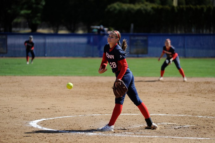 Kayla Doty delivers a pitch during UConn's 2-0 victory over Bryant at the Burrill Family Field on Wednesday March 30, 2016. Doty improves to 4-2 on the year. (Jason Jiang/The Daily Campus)