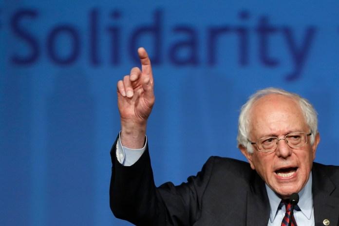 Democratic presidential candidate, Sen. Bernie Sanders, I-Vt. speaks during a campaign stop, Thursday, April 7, 2016, at the Pennsylvania AFL-CIO Convention in Philadelphia. (AP Photo/Matt Rourke)
