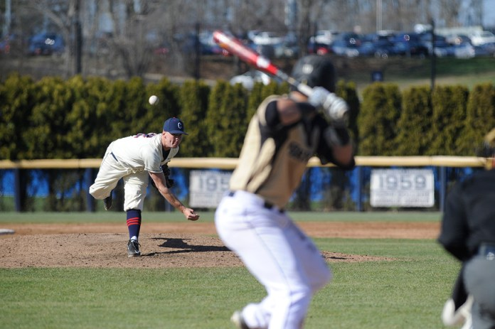 Joe Rivera delivers a pitch during UConn's 6-3 victory over Bryant at J.O. Christian Field on Wednesday April 13, 2016. Rivera earned his first career win in 3.1 innings pitched. (Jason Jiang/The Daily Campus)