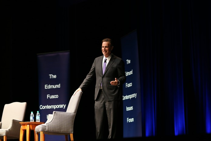 Michael Beschloss, a New York Times colmnist and Emmy award winning contributor to NBC and PBS Newshour, shared thoughts on presidents and the upcoming election at the Contemporary Issues Forum on Wed., April 13 at the Jorgensen Theater. (Jackson Haigis/Daily Campus)