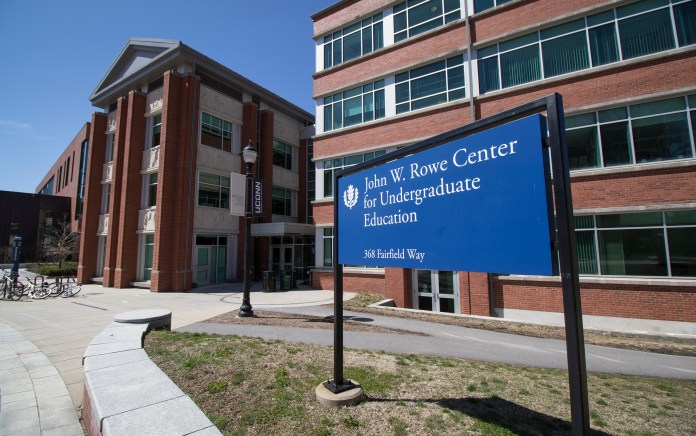 The John W. Rowe Center for Undergraduate Education on the UConn campus in Storrs, Connecticut. The building is home to the First Year Experience office. (Jackson Mitchell/The Daily Campus)