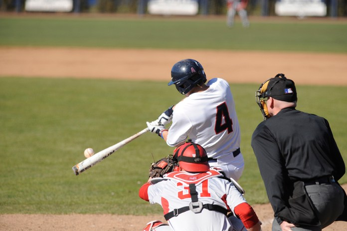 Centerfielder Jack Sundberg makes contact during UConn's victory over Houston at J.O. Christian Field over the weekend. Sundberg is batting .311 on the year. (Jason Jiang/The Daily Campus)