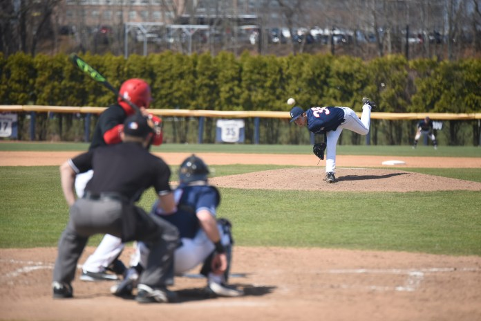 Freshman southpaw Tim Cate tosses a pitch against Houston during a 4-1 victory on Saturday, April 16 at J.O. Christian Field. Cate went 7.0 innings while letting up one run on three hits and six strikeouts. (Zhelun Lang/The Daily Campus)