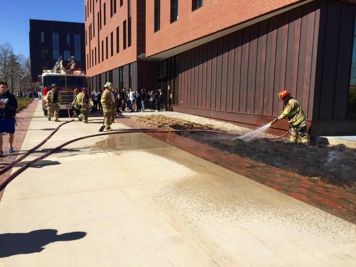 Fire outside Oak Hall