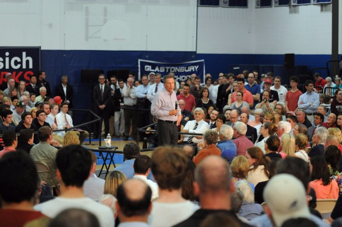 Republican presidential candidate John Kasich talked about the importance of job creation during his town hall at Glastonbury High School on Friday, April 22, 2016.  (Kyle Constable/The Daily Campus)