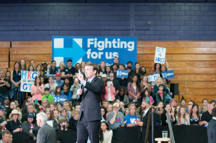 Connecticut Sen. Chris Murphy addresses the crowd at a rally for Democratic presidential candidate Hillary Clinton at the University of Bridgeport on Sunday, April 24, 2016. (Kyle Constable/The Daily Campus)