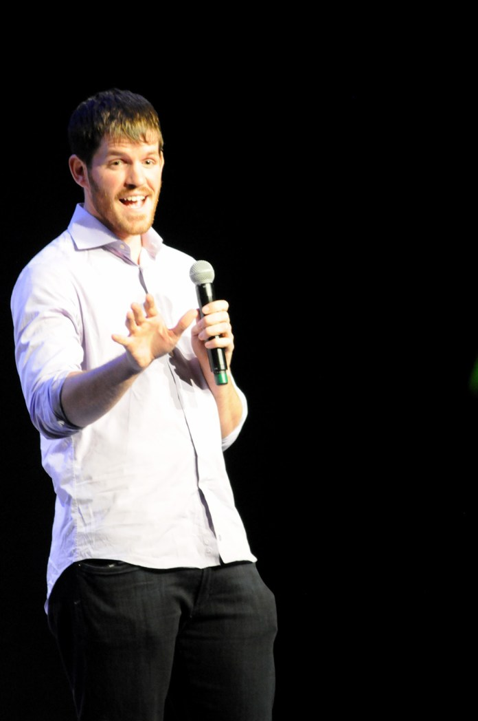 Humans of New York founder Brandon Stanton speaks during his lecture in the Jorgensen Center for the Performing Arts in Storrs, Connecticut on Saturday, April 23, 2016. (Sam Mahmud/The Daily Campus)
