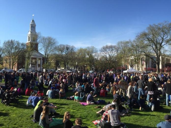 Supporters congregate on the lawn at a Bernie Sanders rally in New Haven on Sunday, April 24, 2016. (Sten Spinella/Daily Campus)