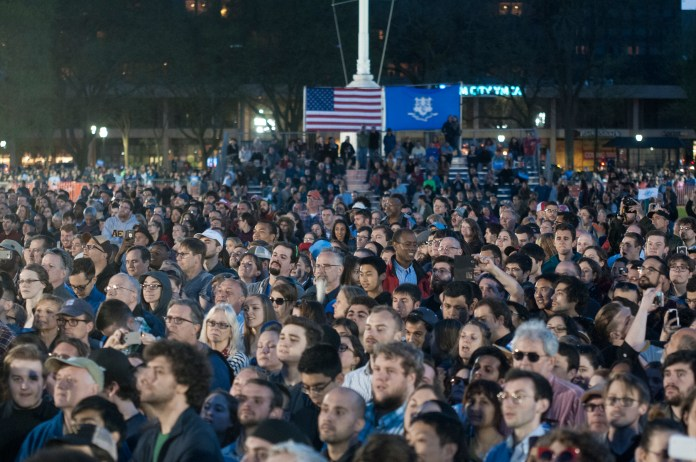 Attendees look on during a Bernie Sanders rally in New Haven, Connecticut on Sunday, April 25, 2016. (Kyle Constable/The Daily Campus)