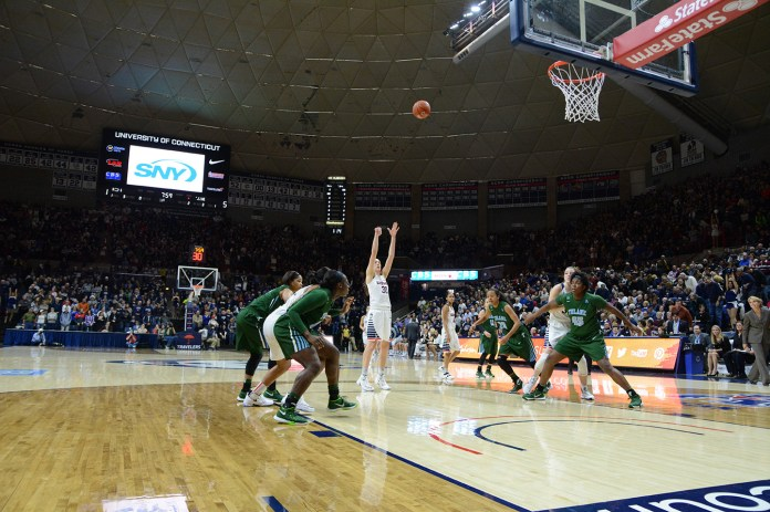 The UConn women's basketball team defeated Tulane 80-40 onSenior Day on Saturday, Feb. 27, 2016 in Gampel Pavilion. Breanna Stewart, Moriah Jefferson, and associate head coach Chris Dailey were inducted into the Huskies of Honor. (Amar Batra/The Daily Campus)