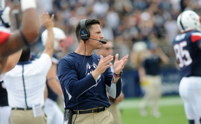 UConn football head coach Bob Diaco on the sidelines during the Huskies' game against Army at Pratt & Whitney Stadium at Rentschler Field in East Hartford, Connecticut on Saturday, Sept. 12, 2015. (Bailey Wright/The Daily Campus)
