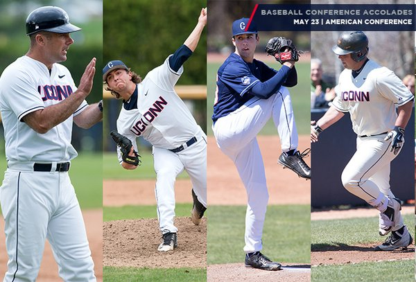 From left, manager Jim Penders, Anthony Kay, Tim Cate and Joe DeRoche-Duffin are seen in action. These four were given major awards on Monday from the American Athletic Conference. ( @UConnBaseball )