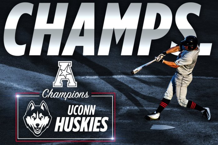 UConn captured their first American Athletic Conference championship with a 7-2 win over Houston on Sunday. (Photo/ @UConnBaseball )
