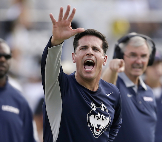 UConn, one of several programs being mentioned as a candidate for expansion by the Big 12, is dealing with something new in head coach  Diaco's third season as its head football coach,expectations. (John Raoux/AP)
