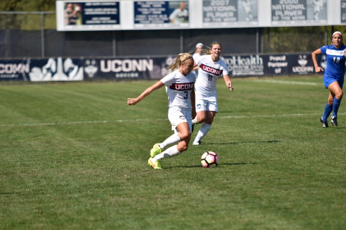 The UConn Huskies defeated the CCSU Blue Devils 2-1 in an impressive win at Monroe Stadium this past weekend, Sep. 4, 2016. (Grant Zitomer/The Daily Campus)