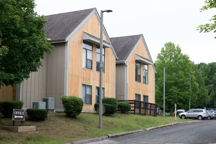 Celeron Square Apartments are a housing development in Storrs, Conn. Housing developments for multi-family housing complexes have been haulted for nine months. (Tyler Benton/The Daily Campus)