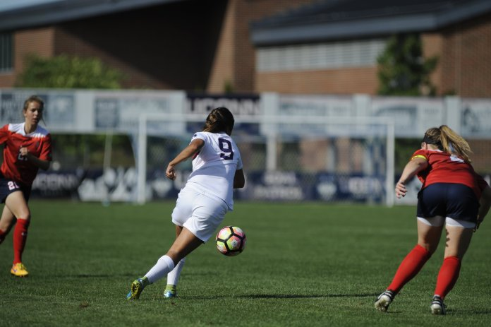 UConn women's soccer beats Stony Brook with the final score of 4-1 on September 11, 2016.Rachel Hill, Stephanie Ribeiro and Annika Schmidt scored in the game at Morrone Stadium on Sept. 11, 2016. (Jason Jiang/The Daily Campus)