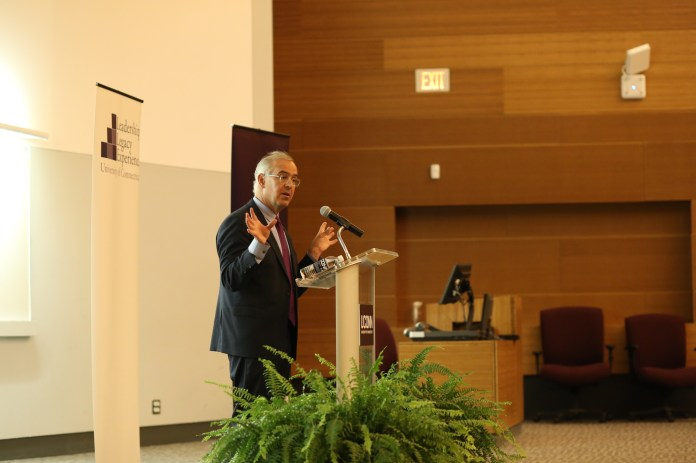 """New York Times  columnist David Brooks spoke in Laurel Hall Tuesday evening to promote his book """"Road to Character."""" (Jackson Haigis/The Daily Campus)"""