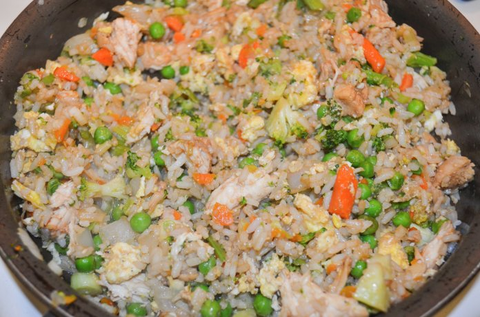 The final product: chicken fried rice with vegetables. (Claire Galvin/The Daily Campus)